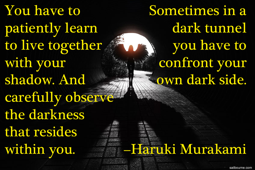 You have to patiently learn to live together with your shadow. And carefully observe the darkness within you. Sometimes in a dark tunnel you have to confront your own dark side. Haruki Murakami