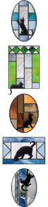 cat silhouettes in stained glass windows